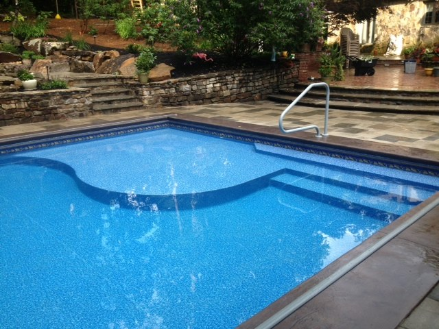 No Slip Stained Concrete Pool Deck